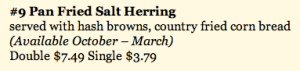 Salt Herring Menu